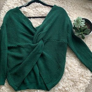 Emerald Twist back Sweater by Parallel Lines